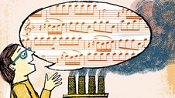 Illustration of a grad student singing a speech bubble with a musical score in front of factory smog