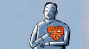 illustration of a man with an exposed red heart