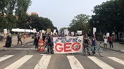 organizers block an intersection